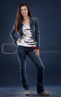 casual brunette wearing jeans
