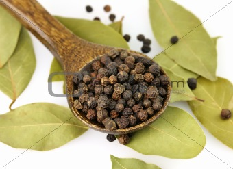 black pepper and bay leaves