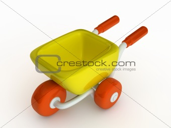 3d cute cartoon yellow shop cart.