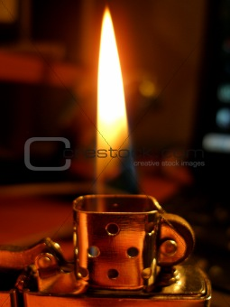 Flame a lighter.