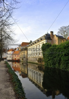 On the canal in winter Bruges