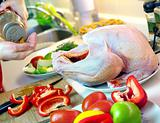 Preparing turkey' stuffing