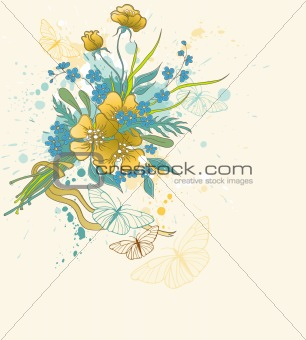 floral background with bouquet