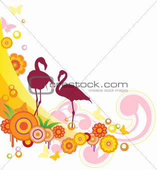 background with flamingo