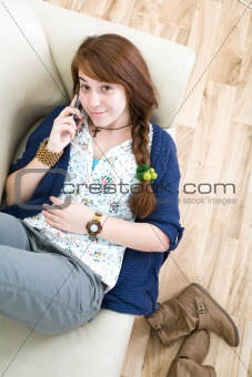 Beautiful teen girl with phone