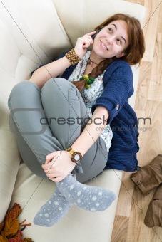 Beautiful teen girl with phone