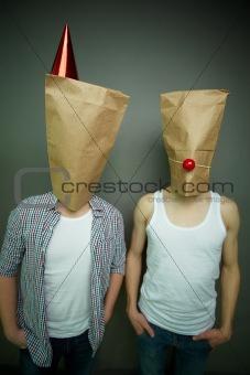 Guys in paper bags