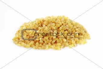 Bulgur on white background