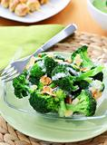 Broccoli salad with yogurt dressing and roasted almond
