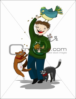 Cartoon man with animals