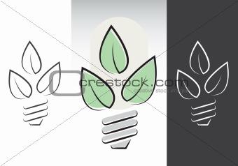 green energy lightbulbs symbols