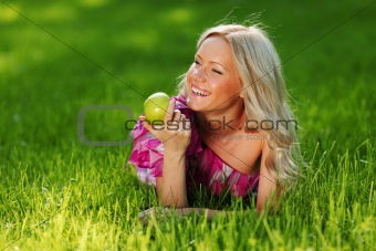 blonde on green grass