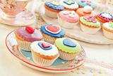 group of colorful cupcakes.