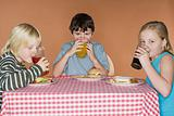 Children having a drink and a sandwich