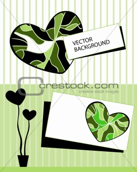 Card with stylized heart tree and text
