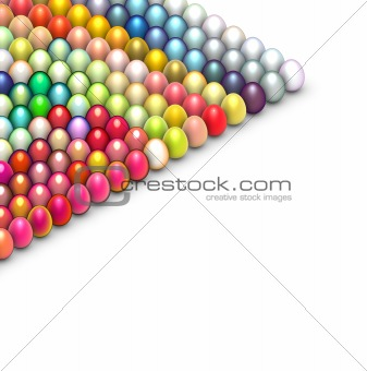3d render easter egg in multiple bright color on white