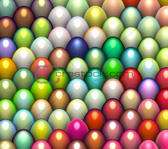 3d render easter egg in multiple bright color