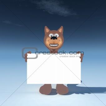 cat wih blank sign
