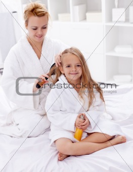 Combing hair after bath