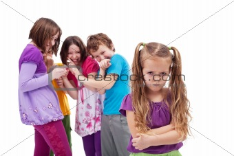 Group of kids bullying their colleague
