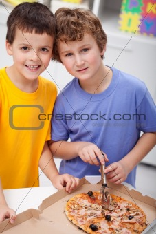 Boys with pizza