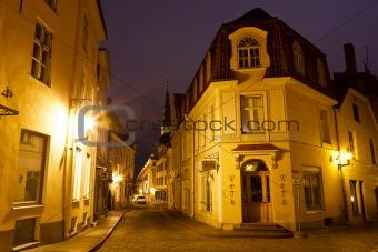 Old Street of Tallinn in the Night, Estonia