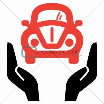 Red car in open hands