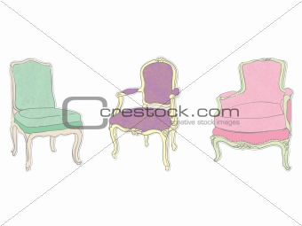 antique rococo chairs stickers