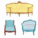 antique rococo furniture stickers