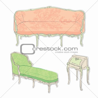 rococo antique furniture stickers