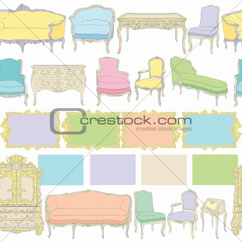 rococo furniture linear pattern