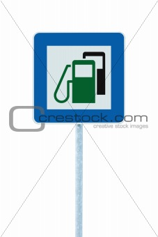 Gas Station Road Sign, Green Energy Concept, Gasoline Fuel Filling Service