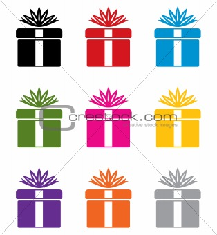 vector set of colorful gift box symbols