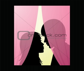 vector silhouette of young man and woman behind a curtain