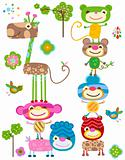 jungle cute animals set