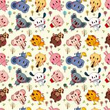 animal play music seamless pattern