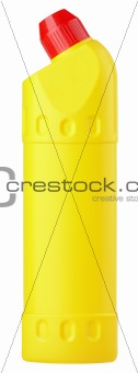 Yellow plastic bottle of detergent
