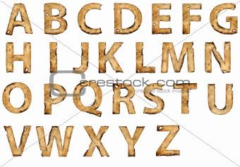 grunge burnt paper alphabet