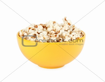 popcorn in a yellow bowl
