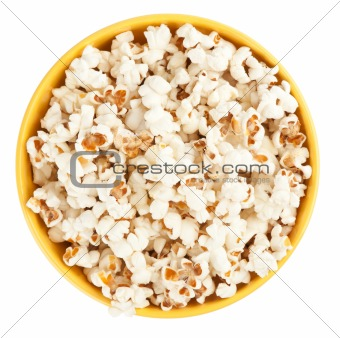 Bowl of popcorn. Top view