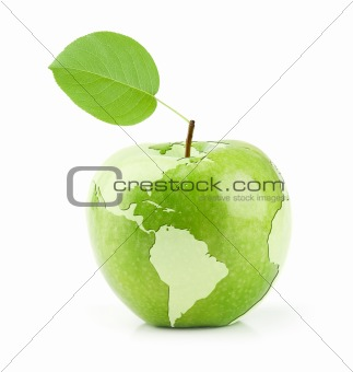 Green Apple with map of the World
