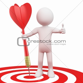 Man with a red dart on target bull's eye
