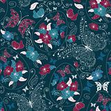 Seamless ester dark blue pattern