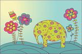 The elephant and  flowers