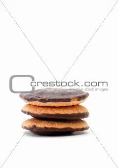 three chocolate cookies