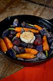 Root Vegetables on a rustic wood table
