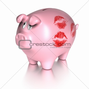 kissed piggy bank - loving money