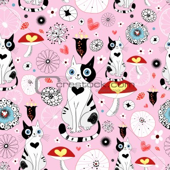 pattern of cats and flowers