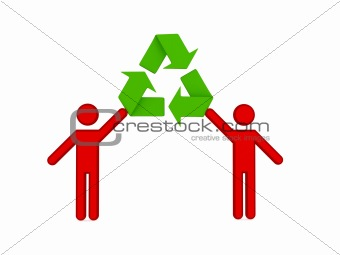 3d small people and recycle symbol.
