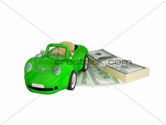Green car and dollar pack.